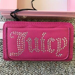 Juicy Couture Pink Rhinestone Zip Around Wallet